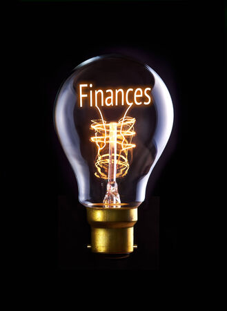 Finances concept in a filament lightbulb.