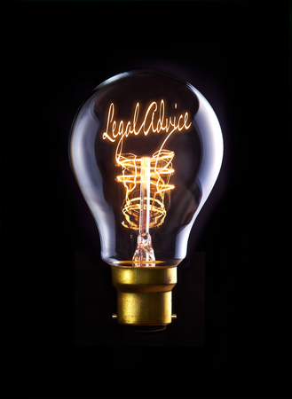 legal: Legal Advice concept in a filament lightbulb. Stock Photo