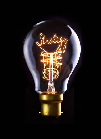 execute: Strategy concept in a filament lightbulb.
