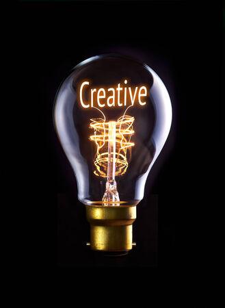 Creative concept in a filament lightbulb. photo