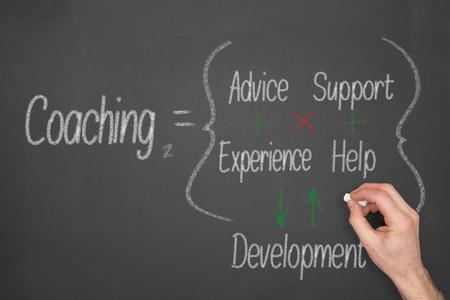Coaching concept formula on a chalkboard