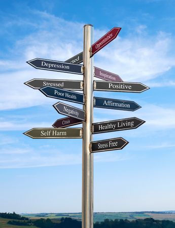 strategic focus: Positive Going in the right direction, Signpost concept. Stock Photo