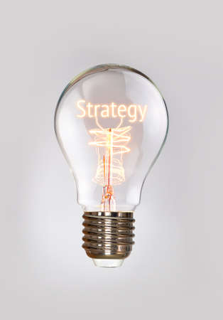 filament: Strategy concept in a filament lightbulb.