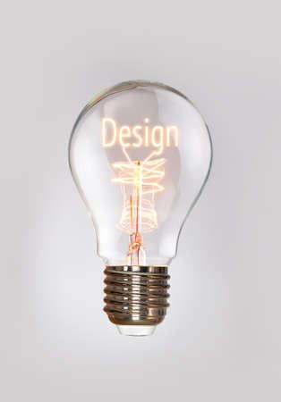 osolated: Design concept in a filament lightbulb. Stock Photo