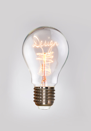 osolated: Design concept in a filament lightbulb. Stock Photo