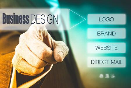 optimisation: Businessman pressing a Design concept button.