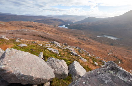 clair: Looking out over Squrr Dubh & Loch Clair in the Scottish Highlands from the summit of Beinn Eighe. Stock Photo