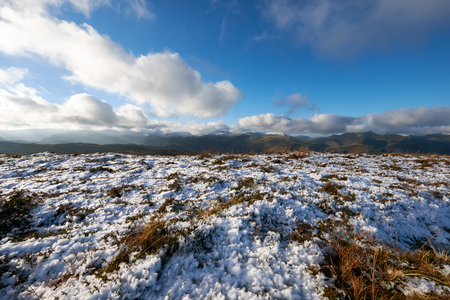fells: A snow covered plateau  looking out across the Derwent Fells near Keswick in the English Lake District, Cumbria, England. UK.