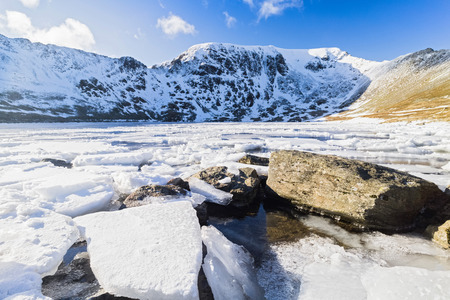 Frozen Red Tarn with Striding Edge, Helvellyn and Swirral Edge in the distance. Lake District, UK.