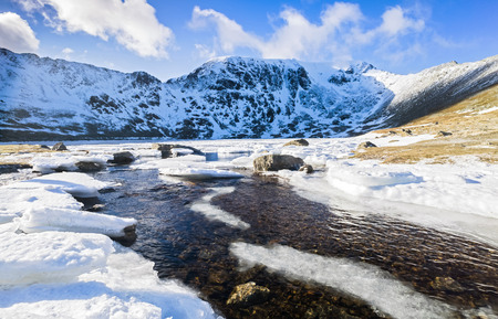 striding: Frozen Red Tarn with Striding Edge, Helvellyn and Swirral Edge in the distance. Lake District, UK.
