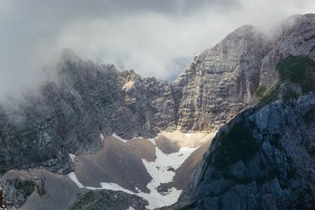 julian: The sharp jagged ridges opposite Triglav in the Julian Alps,  Slovenia Stock Photo