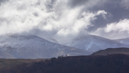 lake district: Blencathra on a mixed weather day in the Lake District Stock Photo