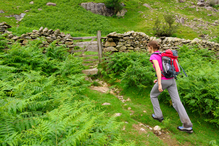 lakeland: A hiker approaching a wooden gate while out for a walk in the Lake District.