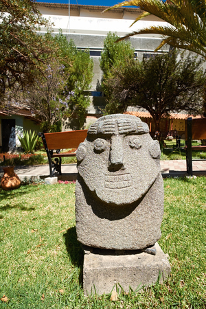archeology: Artifacts at the Archeology Museum of Ancash,Huaraz, Peru. Editorial