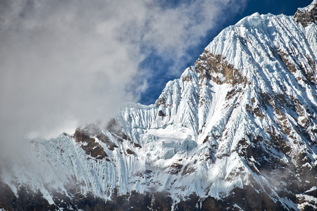 The summit of Huascaran in the Huascarán National Park, Peruvian Andes.