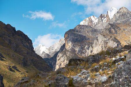 valley below: Trekking below Churup in the Andes, Cojup Valley in Peru, South America Stock Photo