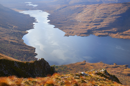 lochs: Aerial view of Loch Damh in the Scottish Highlands, UK.
