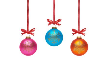 december 25th: Traditional Christmas Tree Decorations isolated on a white background.