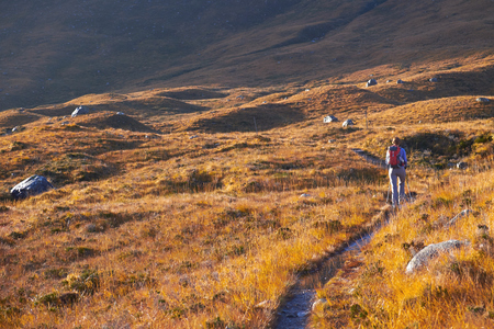 toll: A hiker approaching Beinn Damh via Toll Ban near Torridon in the Scottish Highlands, UK. Stock Photo