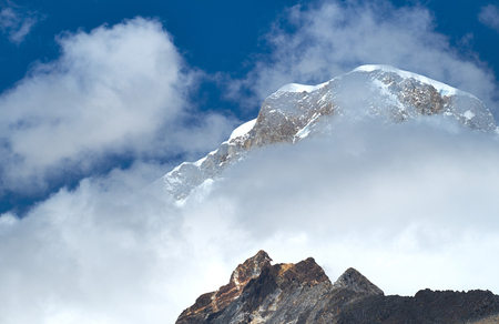 fluting: The summit of Huascaran in the Huascarán National Park, Peruvian Andes.