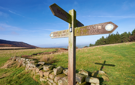 moors: Cleveland Way Sign post for Carlton and Clay Bank, North York Moors, UK. Stock Photo