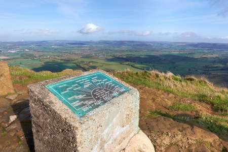 moors: View point and memorial for Alec Falconer on the Cleveland Way North York Moors, UK.