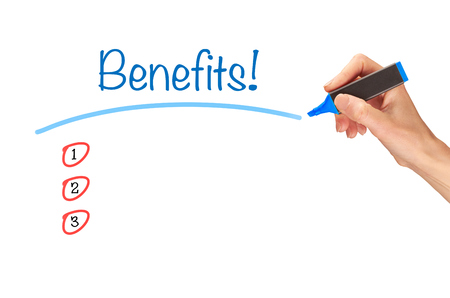 benefit: Benefits, written in marker on a clear screen. Stock Photo
