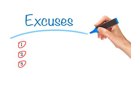 Excuses, written in marker on a clear screen. Foto de archivo