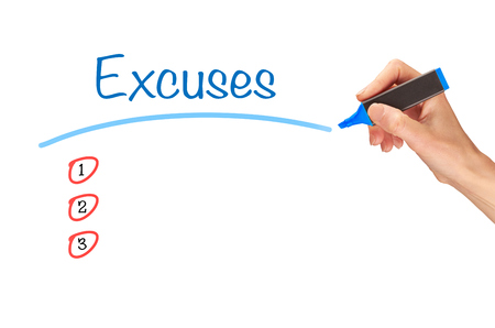Excuses, written in marker on a clear screen. Stockfoto