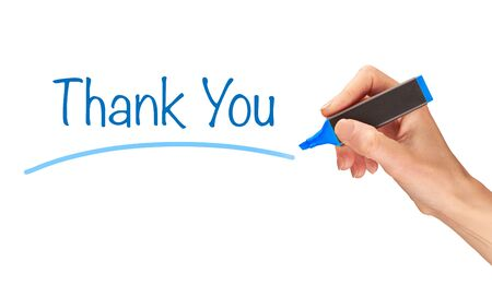 acknowledgment: Thank You, written in marker on a clear screen.