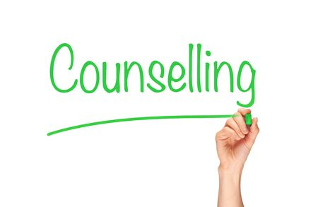 counselling: Counselling, written in marker on a clear screen.