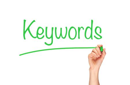 keywords: Keywords, written in marker on a clear screen.