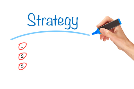 clear strategy: Strategy, written in marker on a clear screen.