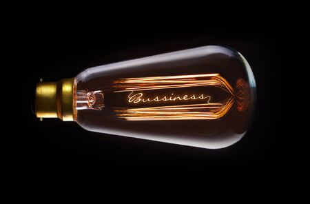 filament: Business Success concept in a filament lightbulb. Stock Photo
