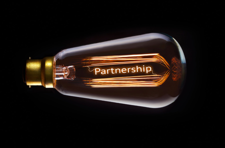 synergism: Partnership concept in a filament lightbulb.