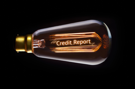 creditor: Credit Report concept in a filament lightbulb.