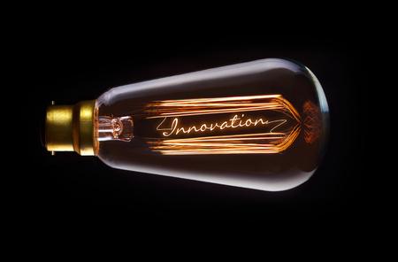 innovacion: Innovation concept in a filament lightbulb.