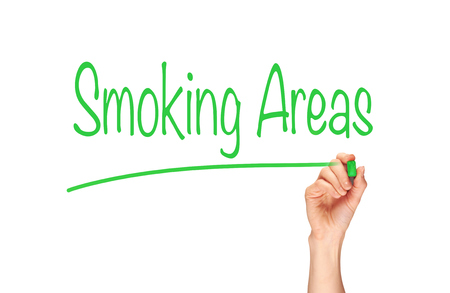 areas: Smoking Areas written, Induction Training headlines concept. Stock Photo