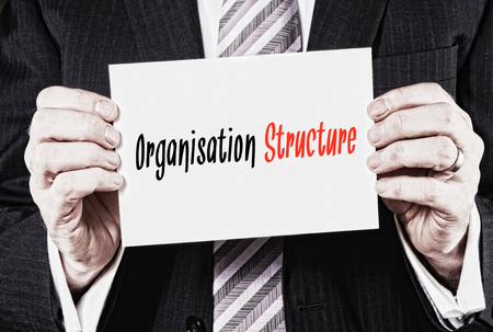 organisation: Organisation Structure, Induction Training headlines concept hold by businessman hands