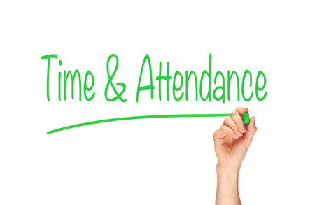 attendance: Time & Attendance written, Induction Training headlines concept.