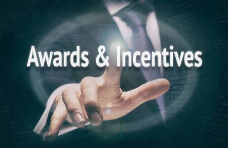 incentives: Awards & Incentives, Induction Training headlines concept by businessman hands Stock Photo
