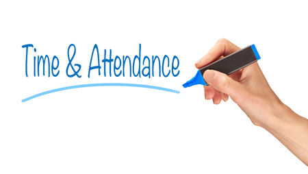 Time & Attendance written, Induction Training headlines concept.