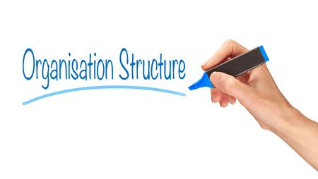 organisation: Organisation Structure written, Induction Training headlines concept.