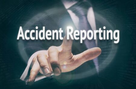 reporting: Accident Reporting, Induction Training headlines concept by businessman hand