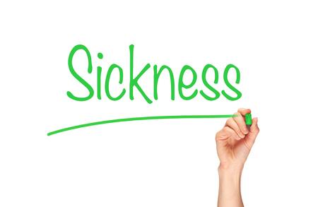 Sickness written, Induction Training headlines concept.