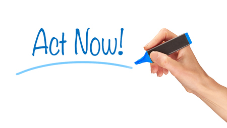 act: Act Now written, Induction Training headlines concept.