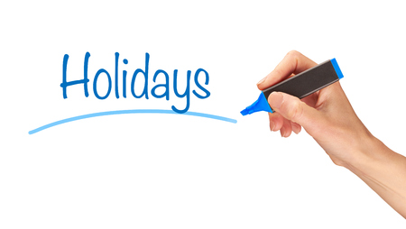 take time out: Holidays written, Induction Training headlines concept. Stock Photo