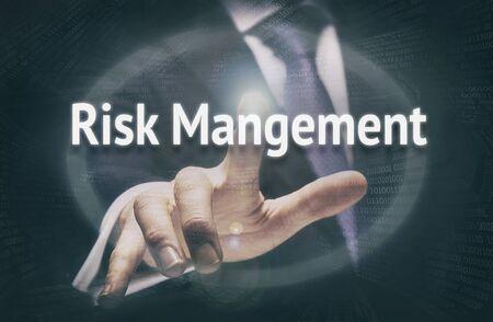 unfavorable: Businessman pressing an Risk Management concept button.