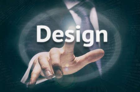web pages: Businessman pressing a Design concept button. Stock Photo