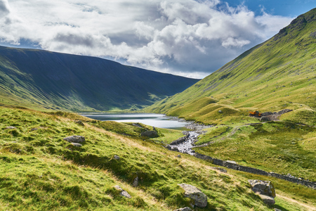 crag: Looking towards Hayeswater and High Street in the English Lake District, UK. Stock Photo